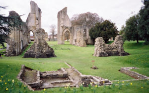 Glastonbury Abbey ruins. The chained area near the center is Arthur's grave