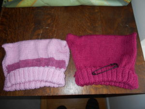 Two hats I knitted. Nancy wore one, the other went to Washington D.C.